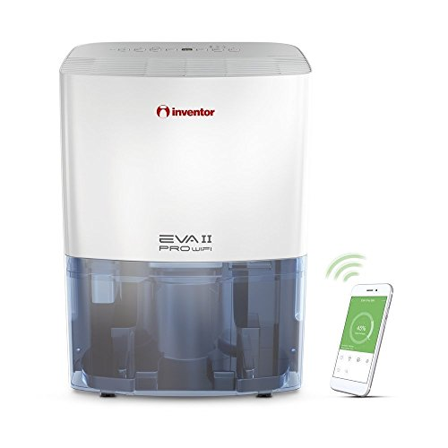 Inventor EVA II PRO WiFi, Deumidificatore Compatto Portatile, Ionizzatore, Connessione WiFi, Deumidificazione Intelligente (capacità di deumidificazione 20L/24h), Asciugabiancheria, Basso Consumo Energetico.