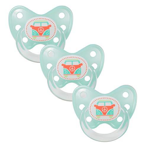 Dentistar® Schnuller 3er Set- Nuckel Silikon in Größe 3, ab 14 Monate - zahnfreundlich & kiefergerecht - Beruhigungssauger für Babys - Türkis Bus