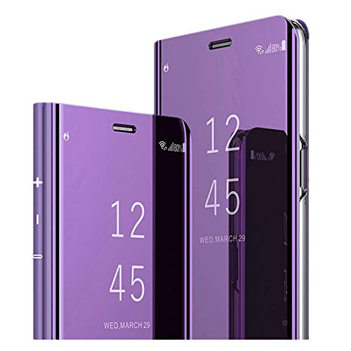 Hülle für Samsung Galaxy A70 Handyhüllen Flip Handy Case Cover mit Standfunktion Business Serie Hülle Hart Case Cover Faltbare Standfunktion,Bumper Stoßfeste Schutzhülle für Galaxy A70 (Lila) Business-serie Handy