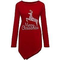 Bestow Señoras impresión de Navidad Dobladillo Irregular de Manga Larga Top Mujeres más tamaño Merry Christmas Top Blusa