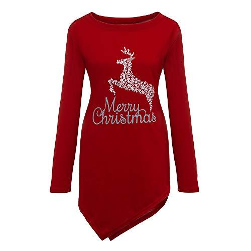YWLINK Damen Plus Size Weihnachten Rudolph Drucken Unregelmäßiger Saum Lange Ärmel Top Bluse Shirt(XL, Rot)
