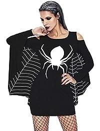 Zoylink Vestido De Halloween para Mujer Disfraz De Cosplay Vestido De Fiesta con Cuello Redondo Manga