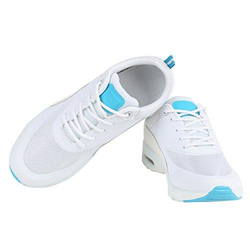 Damen Sportschuhe | Runners Sneakers | Laufschuhe Fitness | Trendfarben | Sportliche Schnürer Weiss Türkis
