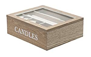 Boîte de rangement pour bougies - Finition chêne