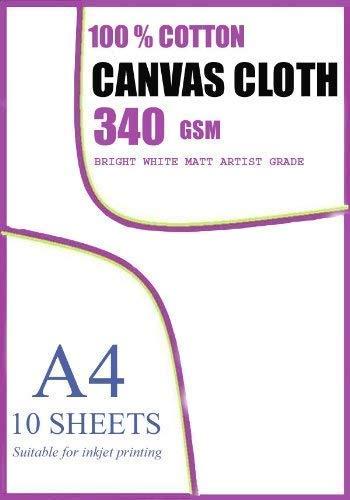 Tintenstrahlbedruckbare Genuine 100% Giclee Cotton Canvas 350gsm 10 A4 Blätter