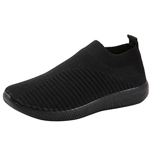 BaZhaHei-Zapatillas Zapatillas de Mujer Deporte Planas de Malla Transpirable Zapatos Casuales de Zapatos...