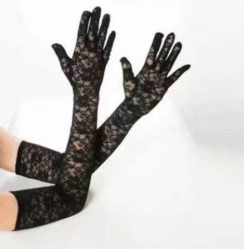 (Finger lange schwarze Spitze Tanzparty Braut Handschuhe)