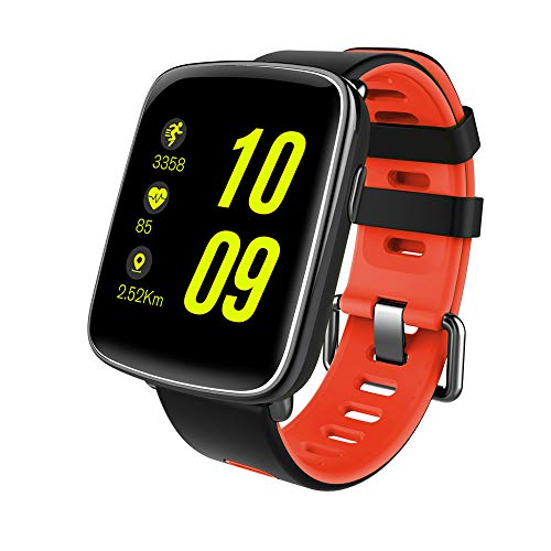 NinJaSun wasserdichte Uhr für Smartwatches, Musik, Gesundheits- und Fitnesssportarten, kompatibel mit Android und IOS,Red
