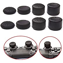 Microware Pack Of 8 Pcs Analog Controller Gamepad Raised Antislip Thumb Stick Grips Thumbsticks Joystick Cap Cover For PS4, PS3, Switch Pro, Xbox One, Xbox 360, Wii U, PS2 Controller (Black)