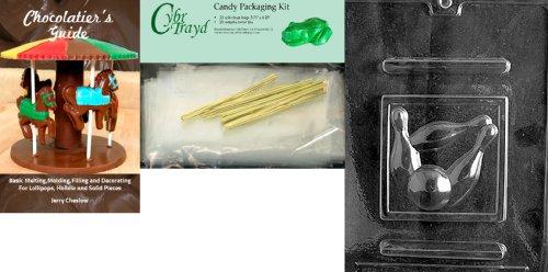 Cybrtrayd Bowling Schokolade Form mit Chocolatier 's Bundle, inkl. 25Cello Taschen, 25gold Twist Krawatten und Chocolatier 's Guide