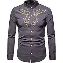 Yvelands Camisas para Hombre, Camisas Ocasionales de los Hombres Camisa de Manga Larga Bordada Estilo