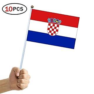 Naicasy 14* 21cm Hand Held Waving Flag Kurbel Kroatische Flagge 10Pack