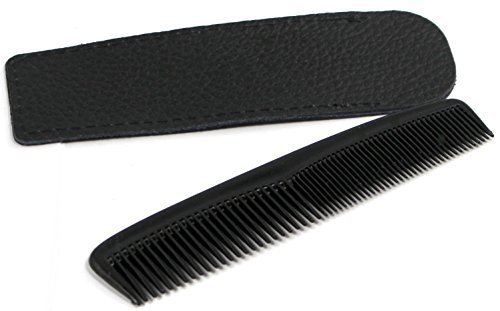 Kamm-Etui Echtleder handgemacht Medi-Inn in verschiedenen Längen und Farben, nach Auswahl mit Kamm (1 x 5 Zoll (12,7 cm), schwarz + Taschenkamm schwarz)