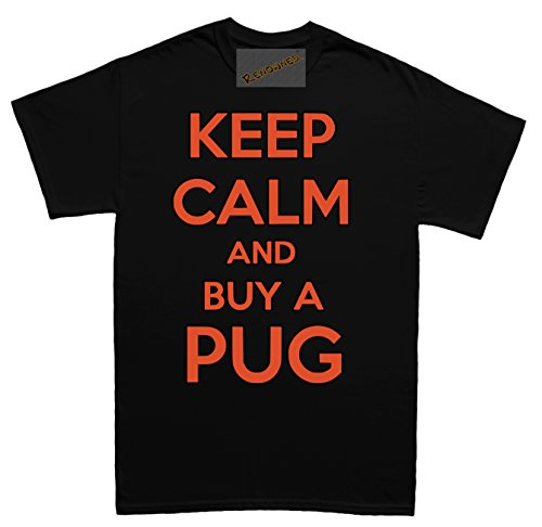 Renowned Keep calm and buy a pug Herren T Shirt Schwarz