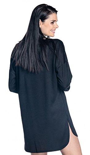 Zeta Ville -Kleid Dünnenstrick asymmetrisch Saum langen Ärmeln - Damen - 559z Schwarz