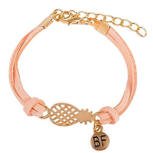 Imagen de strass & paillettes pulsera de gamuza rosa, salmón con piña dorada y medalla bf. pulseras best friend con una piña/brazalete para su mejor amigo