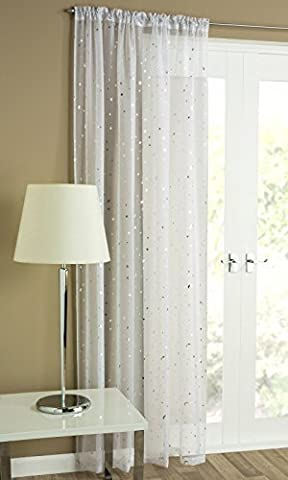 Starletta Readymade Voile Curtain Panel - Slot Top / Rod Pocket - 55 x 54 (Wire Tulle)