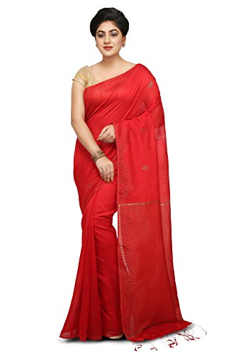Wooden Tant Red Handloom Silk Cotton Saree with Weaving Wave Border