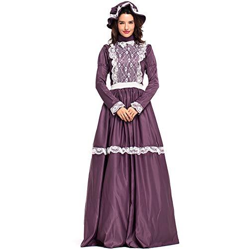 CJJC Mittelalterliche Damen Party Kostüme, einfache Farm Manor Lange Kleider mit Spitze, ideal für Cosplay Performance verwenden XL (Einfache Mittelalterliche Kostüm)