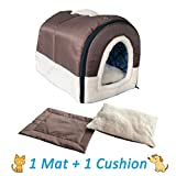 ANPI 2 in 1 Dog House Cat Igloo, Foldable Machine Washable Cat Bed Cave Non-Slip Soft Warm Pet Rabbit House Sofa with Detachable Cushion, 3 Sizes, Multicolour (M, Brown, New)