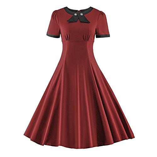 iLover Klassische 40er 50er 60er Jahrgang Rockabilly Hepburn Stil Partei (Jahre 40er 50er Kostüme)