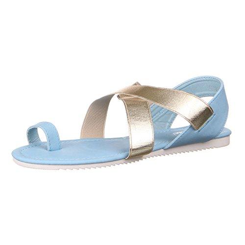 Damen Schuhe SANDALEN RIEMCHEN ZEHENTRENNER Farben: Beige Schwarz Blau Pink Gr枚脽en: 36 37 38 39 40 41 Blau