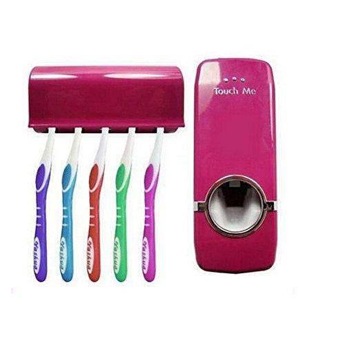Accessoires Zahnbürstenhalter (BENHAI Neue Kunststoff Automatische Zahnpastaspender Mit 5 Zahnbürstenhalter Set Wandhalterung Zahnbürste Bad-accessoires (rot))