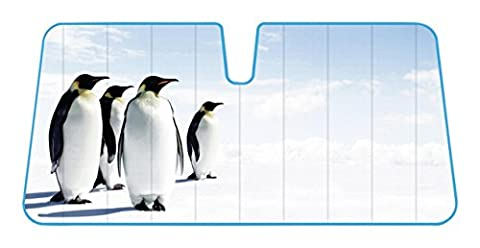 Penguins Alaska North Pole Reflective Double Bubble Foil Jumbo Folding Accordion SUNSHADE for Car Truck SUV Front Windshield Window Reversible Sun Shade Universal 28x58 inches BDK