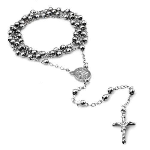"Acier inoxydable de collier de chapelet de perles et de la Croix-28 """