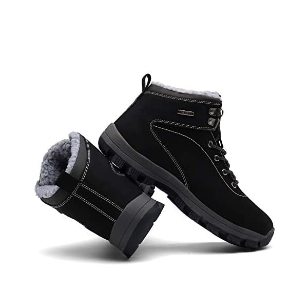 UBFEN Mens Womens Snow Boots Winter Warm Plush Booties Outdoor Sports Walking Hiking High Top Shoes 2