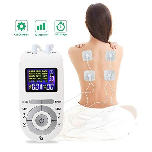 Moonssy tens professionale elettrostaimolatore muscolare, elettrostimolatore tens per massaggiatore potenziamento muscolare e addominali, ridurre dolore in schiena,collo,gambe e nervo