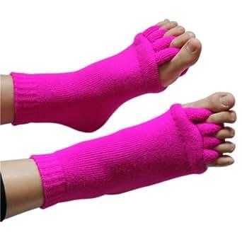 Wuiyepo unisexe orteil de massage de pied Chaussettes Chaussettes alignement soulager la fatigue (Rose Red)