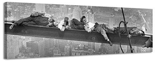 Lienzo panorámico de ciudad de Nueva York trabajadores lienzo pared arte Lienzo Foto Vintage negro y blanco antiguo, negro/blanco, 158x46cm