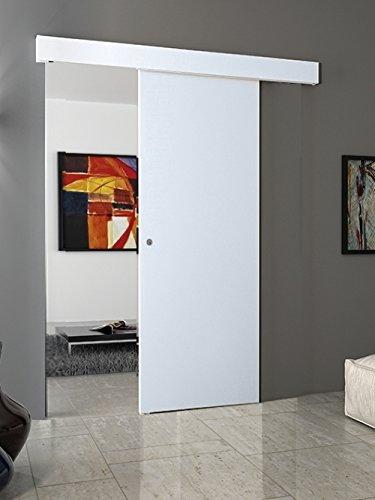Porta scorrevole esterno muro BIANCO completa di binario e mantovana (80x210) (con maniglietta Cromo satinato)