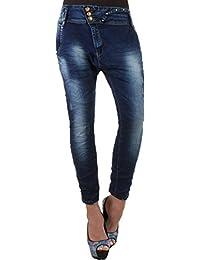 Damen Jeans Hose Chinojeans Boyfriendhose Blau mit Waschung, Rissen und Strass 34 XS - 42 XL