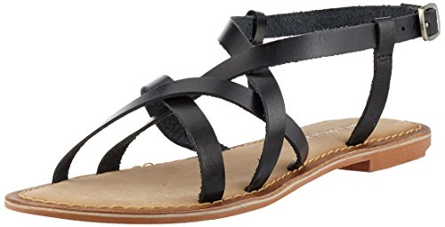 Vero Moda Vmvina Leather Sandal, Strappy Femme Noir (Black)