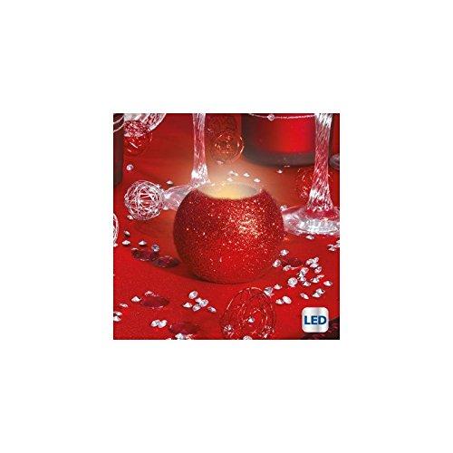 Bougie lumineuse ronde pailletée à LED - Rouge