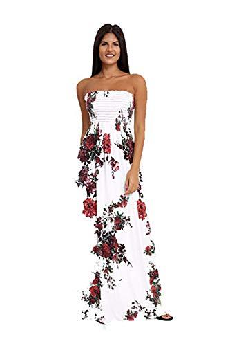 Langen, Weißen Maxi-kleid (Loxdonz Damen Floral Maxi Kleider Lange Raffen Sommerkleid (EU/XX-Large, Rot Blumen))