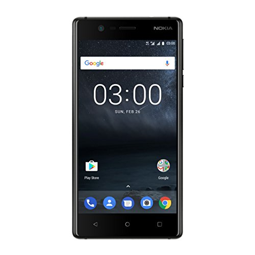 Nokia 3 Smartphone (12,7 cm (5 Zoll), 8MP Hauptkamera, 8MP Frontkamera, 2GB RAM, 16GB interner Speicher, MP3 Player, Android 8.0 Oreo, Dual Sim) matt schwarz, version 2017