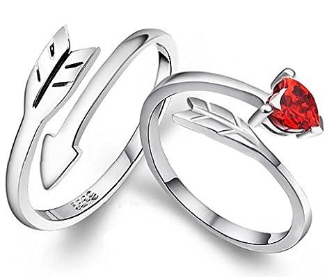 Infinite U Les Flèches de Cupidon Rouge 925 Argent Cristal Autrichien Couples/Amoureux Taille de Bague 54 ,(Permettre de graver vos propres mots)