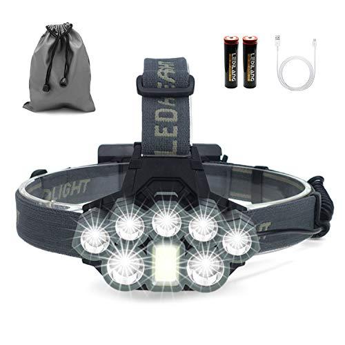 Stirnlampe, 8 LED Kopflampe,Superheller USB Wiederaufladbare Wasserdicht Leichtgewichts Stirnleuchte für Camping,Fischen,Laufen,Joggen,Wandern,Lesen,Arbeiten