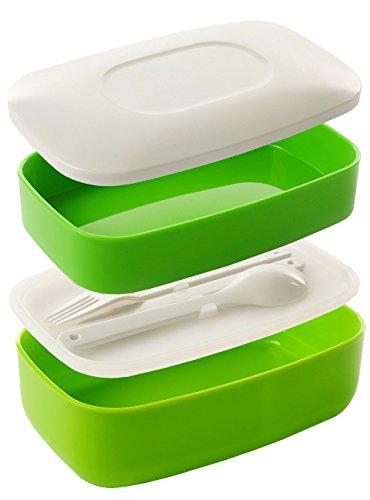 Lunchbox Bento Box geeignet für Mikrowelle Spülmaschine mit 2 Fächern inkl. Besteck BPA Frei 760+440ml