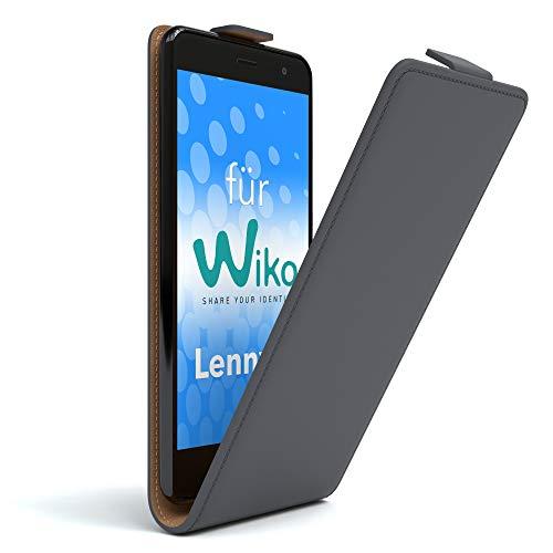 EAZY CASE WIKO Lenny 2 Hülle Flip Cover zum Aufklappen Handyhülle aufklappbar, Schutzhülle, Flipcover, Flipcase, Flipstyle Case vertikal klappbar, aus Kunstleder, Anthrazit