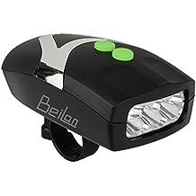 2 en 1 Super Brillante LED 3 Ciclismo Faros con una Función de Timbres Eléctricos Negro Cuerno de Bicicleta de Bici Flash Frontal de Luz de Seguridad que Advierte la Lámpara con el Soporte (Luz Blanca)