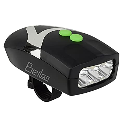 2 in 1 Super Bright 3 LED Cycling Headlights with built-in Electric Bells Black Bicycle Horn Flash Bike Front Light Safety Warning Lamp with Bracket (White