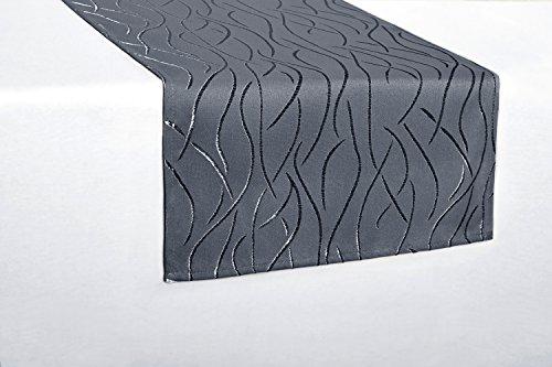 Tischläufer eckig in glänzender Streifenoptik 40x140cm grau , Premium Stoffqualität , Farbe und Größe wählbar, toller Glanz,...