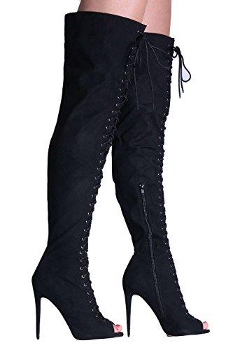 PILOT® dentelle faux suède au-dessus du genou à bout ouvert bottes à hauts talons Noir