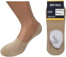 MERITEX 6 paia calzini, calzini invisibili salvapiede con silicone sul tallone,calzini fantasmini traspiranti invisibili in cotone filo di scozia elasticizzato