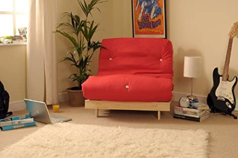2ft6 Small Single Wooden Futon Set with RED