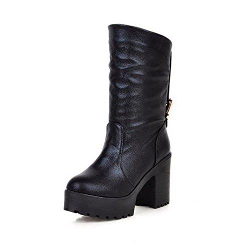 AgooLar Damen Mitte-Spitze Rein Ziehen auf Hoher Absatz Stiefel, Weinrot, 35